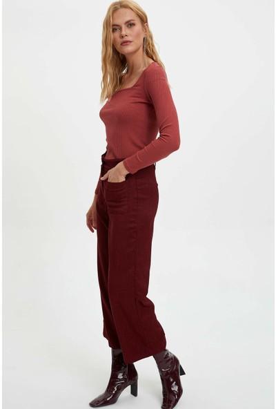 Defacto Kadın Uzun Kollu Slim Fit T-Shirt