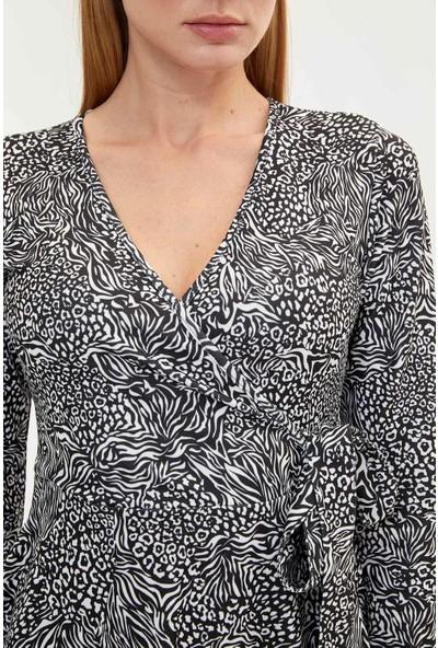 Defacto Kadın Desenli Slim Fit Kruvaze Yaka Elbise
