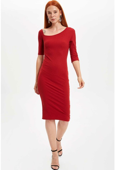 Defacto Kadın Omuz Dekolteli Örme Elbise