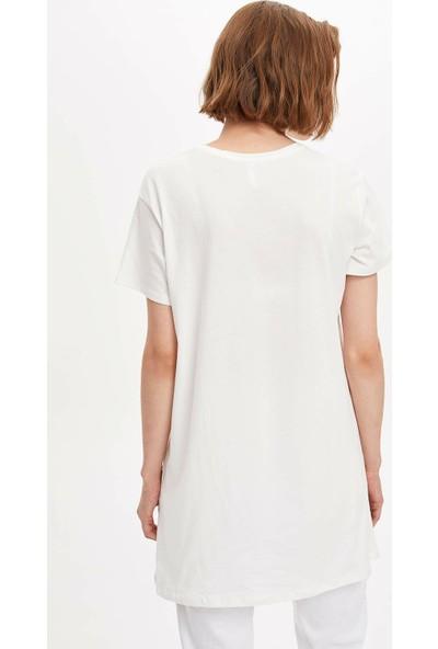 Defacto Kadın Baskılı Uzun T-Shirt