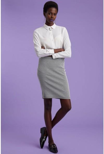 Defacto Kadın Desenli Slim Fit Etek