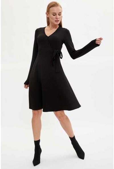 Defacto Kadın Kruvaze Yaka Slim Fit Elbise