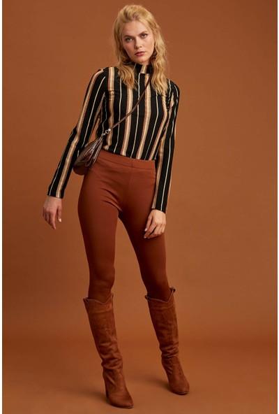 Defacto Kadın Yüksek Yakalı Uzun Kollu T-Shirt