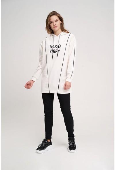 Mizalle Iki Çizgili Baskılı Sweatshirt