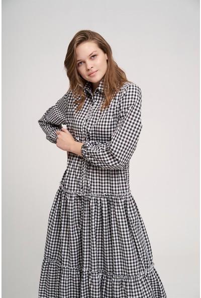 Mizalle Fırfır Detaylı Ekose Elbise