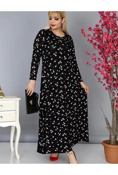 Çiçekli Sonbahar Desenli Uzun Elbise