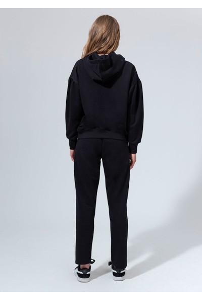 DAGİ Kadın 3 İplikli Polyester O Kapşonlu Baskılı Tek Üst Siyah