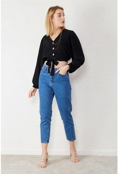 Freestar Kadın Yüksek Bel Bilekte Kot Pantolon