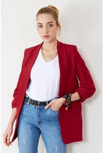 Freestar Kadın Kolu Büzgülü Çift Cep Blazer Ceket