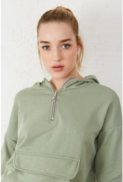 Freestar Kadın Kapişonlu Yarım Fermuarlı Sweatshirt