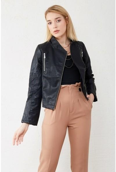 Freestar Kadın Çift Fermuarlı Deri Ceket