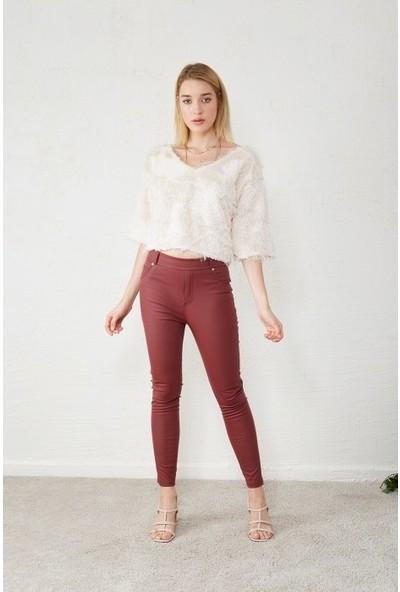 Freestar Kadın Dar Paça Deri Pantolon