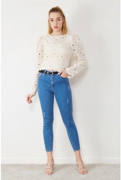 Freestar Kadın Dantel İşlemeli Uzun Kol Bluz