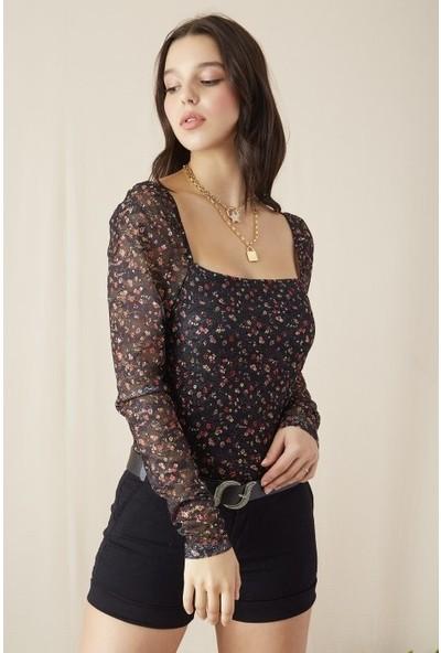 Freestar Kadın Omuzu Açık Dantel İşlemeli Bluz