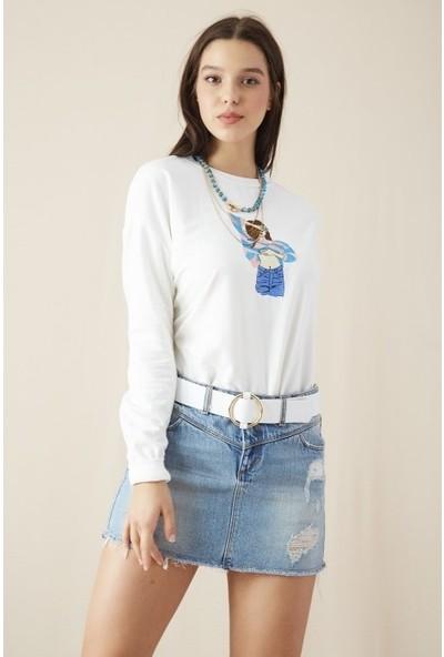 Freestar Kadın Kız Nakış İşlemeli Sweatshirt