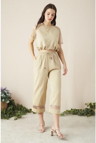 Freestar Kadın Beli Lastikli Fileli Keten Pantolon
