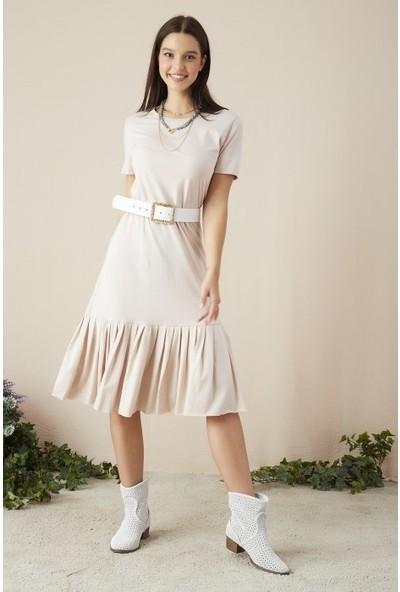 Freestar Kadın Eteği Büzgülü Uzun Elbise