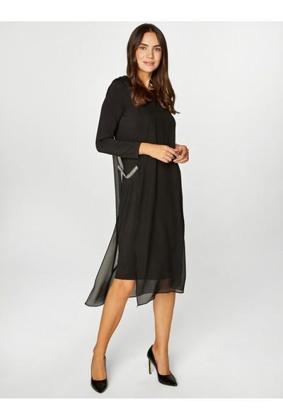 Faik Sönmez Kadın Taş Işlemeli Şifon Detaylı Abiye Elbise 39102
