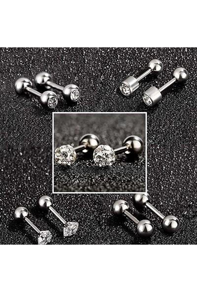 Chavin Gri Çelik 6 Takım Taşlı Bayan Erkek Küpe Piercing EB61BY