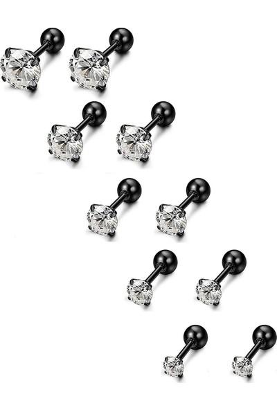 Chavin Siyah 5 Takım Taşlı Bayan Erkek Çelik Küpe Piercing EB60SY