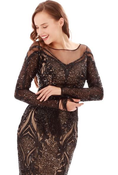 Carmen Siyah Payetli Taş İşlemeli Uzun Abiye Elbise