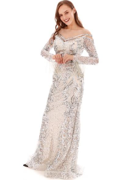 Pierre Cardin Bej Payetli Taş Işlemeli Uzun Abiye Elbise