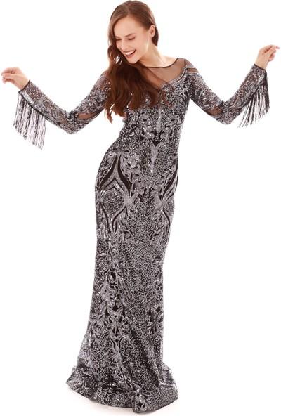 Carmen Antrasit Payetli Taş İşlemeli Uzun Abiye Elbise