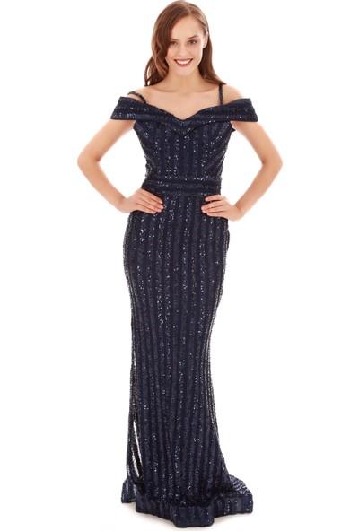 Carmen Lacivert Payetli Askılı Balık Abiye Elbise