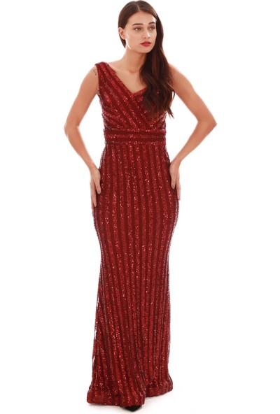 Carmen Bordo Payetli Çizgili Uzun Balık Abiye Elbise