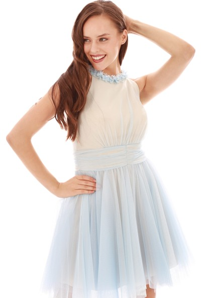 6Ixty8Ight Mavi Tüllü Çiçekli Kısa Abiye Elbise