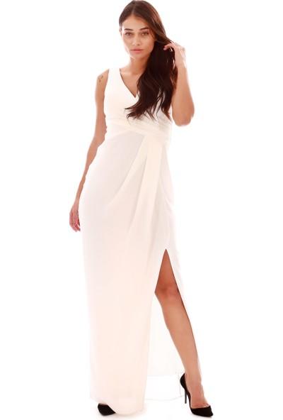 6Ixty8Ight Ekru Krep Kruvaze Uzun Abiye Elbise