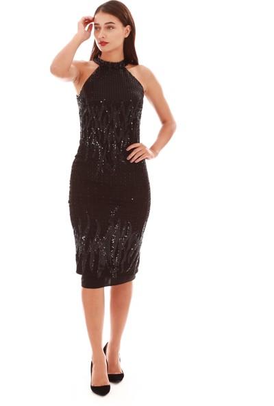 Carmen Siyah Desenli Payetli Kısa Abiye Elbise