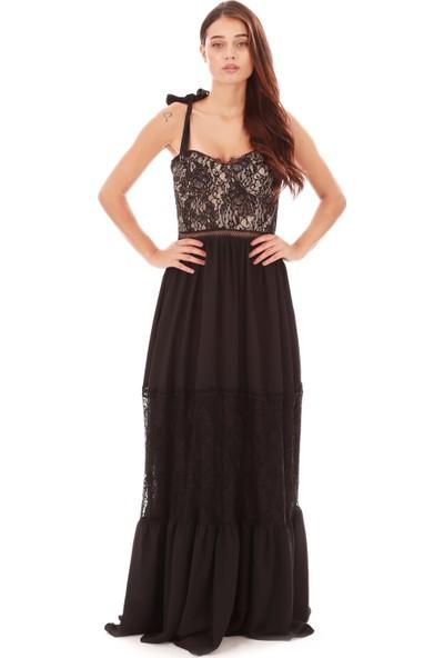 6Ixty8Ight Siyah Dantelli Garnili Uzun Abiye Elbise