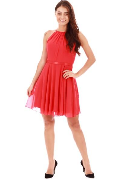 Carmen Kırmızı Saten Garnili Kısa Abiye Elbise