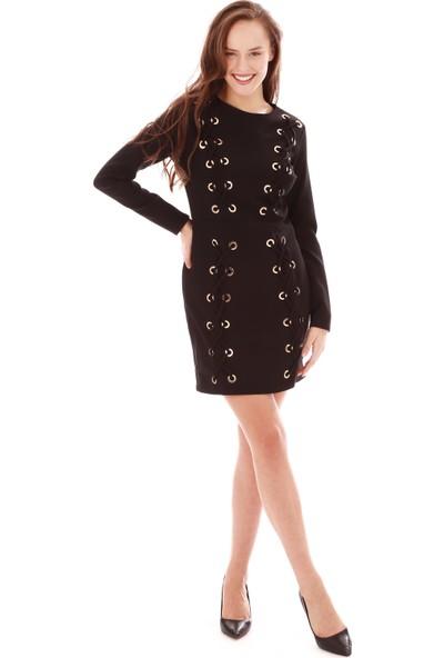 6Ixty8Ight Siyah Bağcık Detaylı Uzun Kollu Abiye Elbise