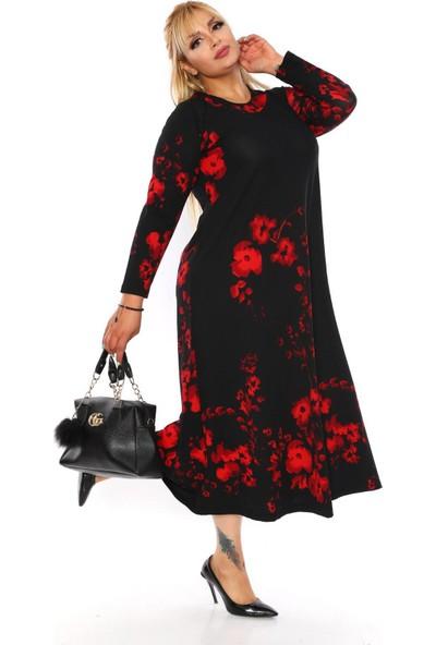 NBB Büyük Beden Kırmızı Çiçekli Desenli Elbise