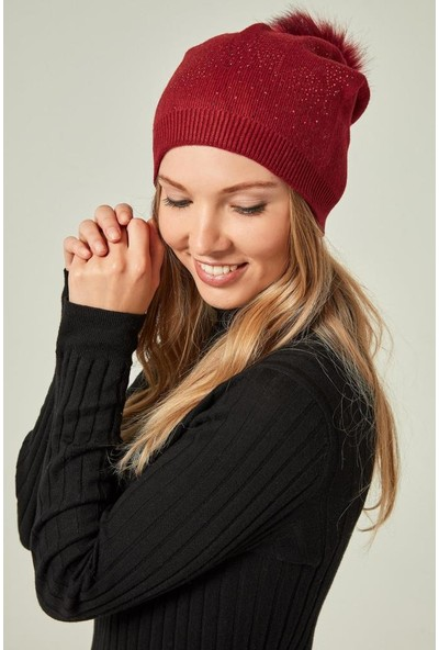 Felice Butik 12728 Yıldız Taşlı Ponponlu Kırmızı Coton Bere