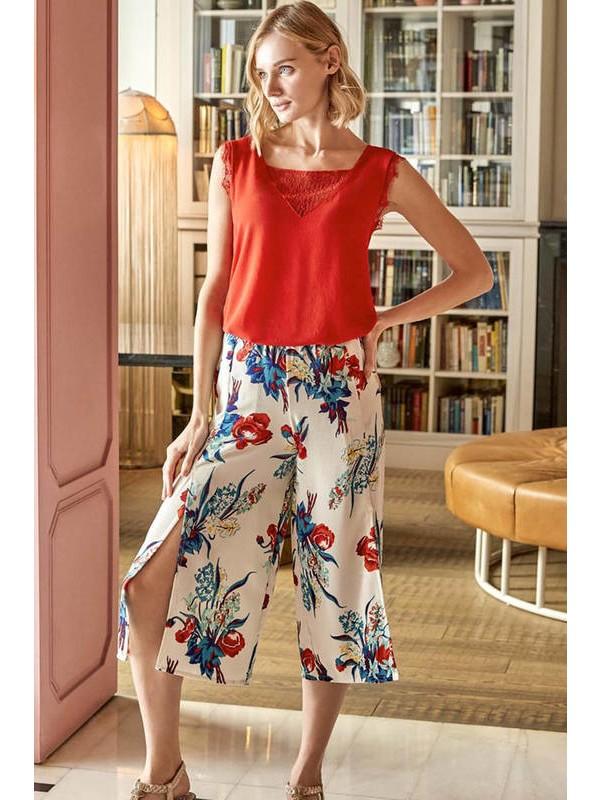 Anıl Kadın Nar Çiçeği Floral Desenli Kapri Takım 9569