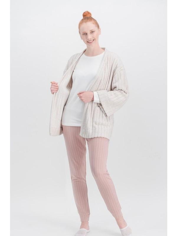 Arnetta Basic Powder Krem Kadın Pantolon - Bluz - Hırka 3'lü Takım