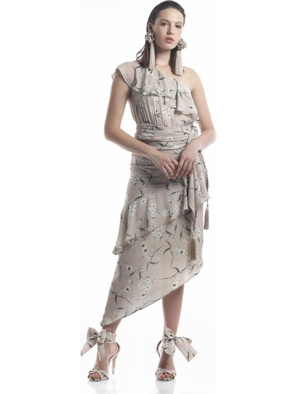 Lefon Kadın Tek Kollu Bej Elbise