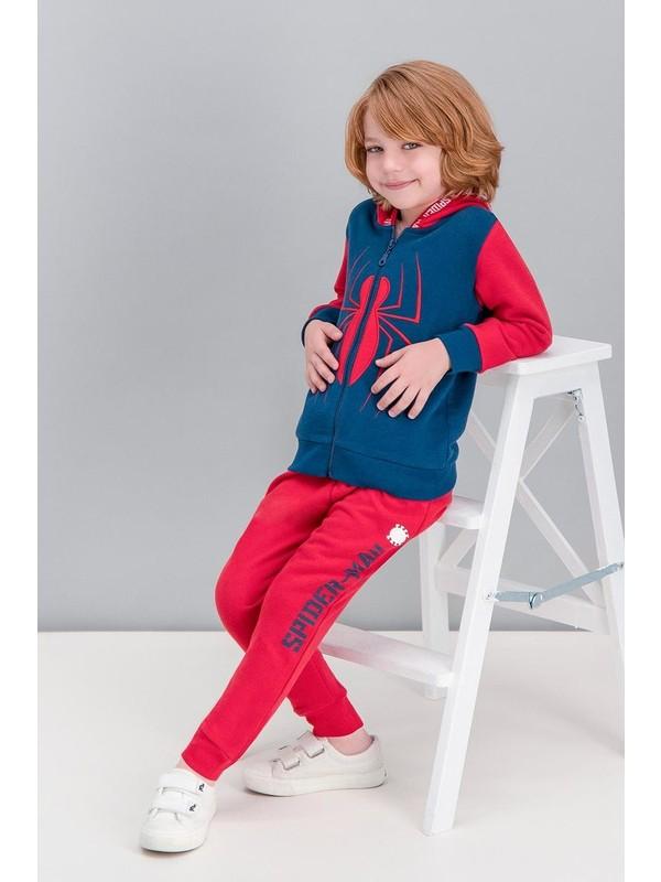 Spiderman Lisanslı Lacivert Erkek Çocuk Kapüşonlu Eşofman Takımı