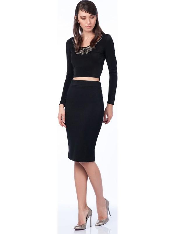 Sense Kadın Siyah Ottoman Etek Etk13320