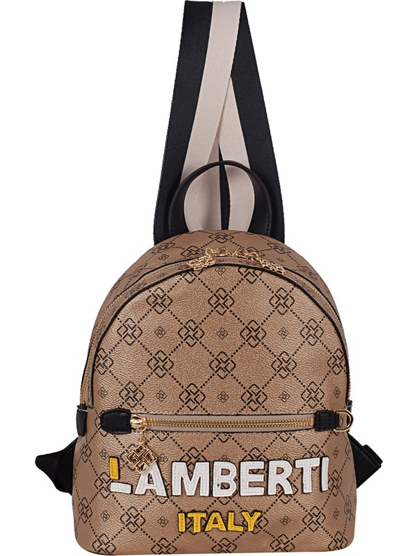 Lamberti 7147 Kadın Suni Deri Sırt Çantası Altın Siyah