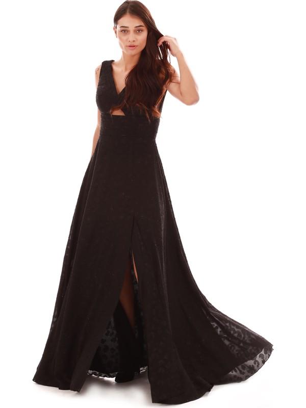 Pierre Cardin Siyah Leopar Desenli Yırtmaçlı Uzun Abiye Elbise