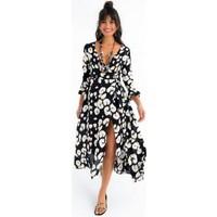 New Laviva Uzun Kollu Uzun Siyah Kadın Elbise