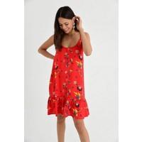 New Laviva Askılı Çiçek Desenli Kısa Elbise Kırmızı Kadın Elbise