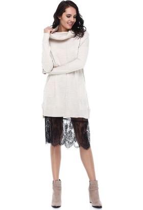 Tena Moda Kadın Siyah Dantelli Tül Etek 9KBETFE6210