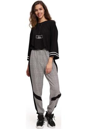 Mizalle Youth Kadın Paçası Şeritli Pantolon