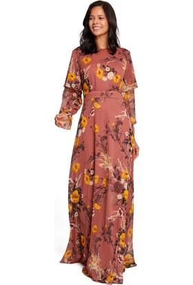 Mizalle Kadın Volan Kollu Çiçekli Elbise