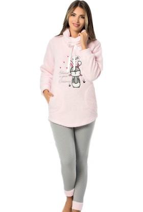 Pijama Evi Tavşan Desenli Tam Peluş Pijama Takımı